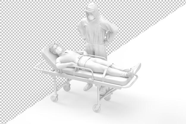 Paramedico in suite protettiva e paziente sulla barella in rendering 3d