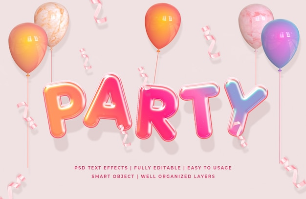 Effetto di stile del testo del partito 3d