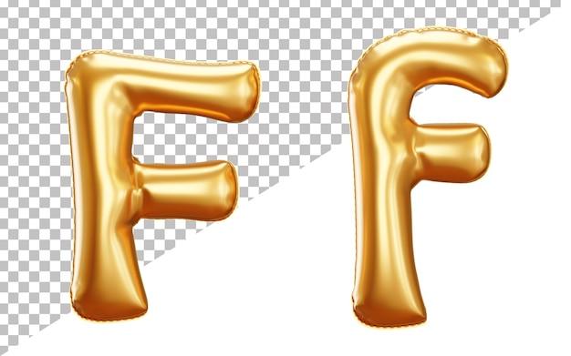 Partito palloncino foil lettera f alfabeto in rendering 3d con lettere maiuscole e minuscole