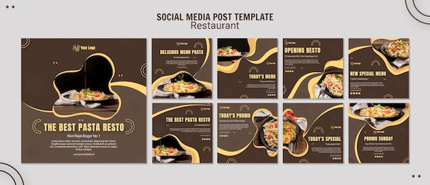 Modello di post sui social media del ristorante di pasta