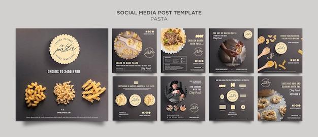Modello di post sui social media del negozio di pasta