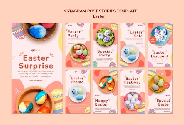 Modello di storie di instagram di giorno di pasqua pastello