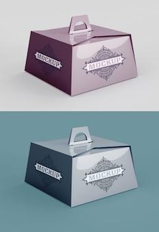 Mockup di scatola di pasticceria con manico isolato