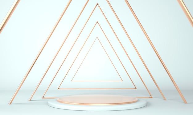 Design della piattaforma a piedistallo in rendering 3d con forme geometriche