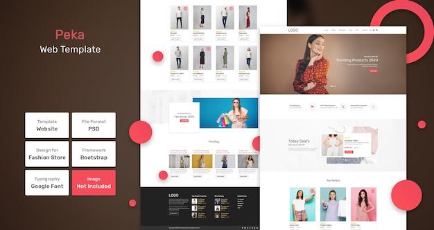 Modello web del negozio di moda peka