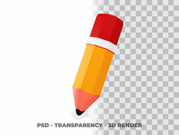 Illustrazione della matita 3d. concetto di icona oggetto educativo isolato con sfondo trasparente