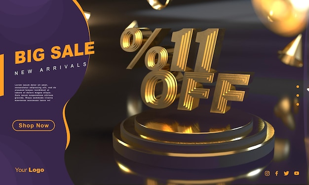 Percentuale 11 modello di banner di vendita dorato sopra il piedistallo d'oro con sfondo scuro