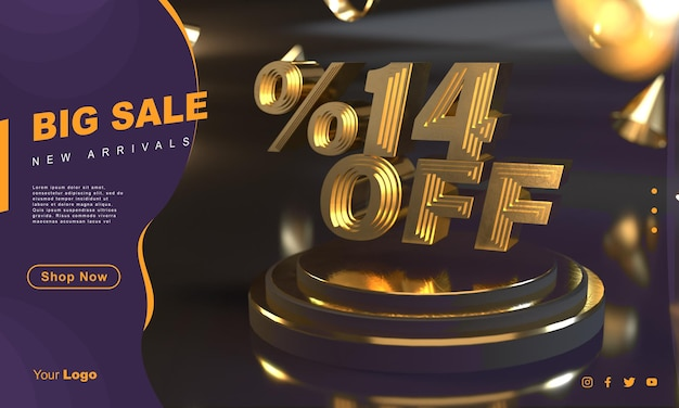 Percentuale 14 modello di banner di vendita dorato sopra il piedistallo dorato con sfondo scuro