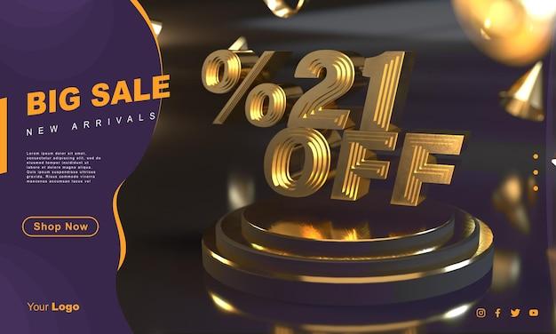 Percentuale 21 modello di banner di vendita dorato sopra il piedistallo d'oro con sfondo scuro