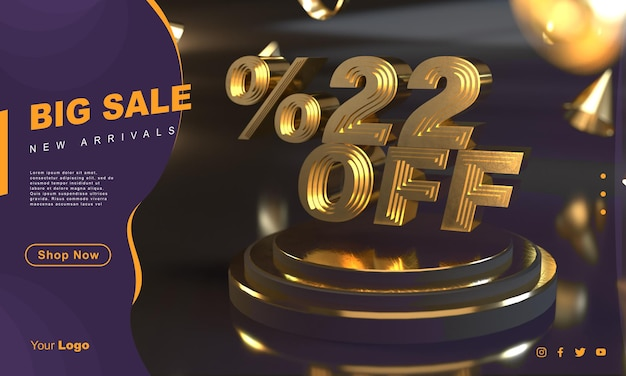 Percentuale 22 modello di banner di vendita dorato sopra il piedistallo d'oro con sfondo scuro