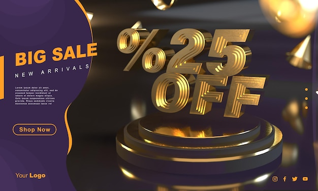 Percentuale 25 modello di banner di vendita d'oro sopra il piedistallo d'oro con sfondo scuro