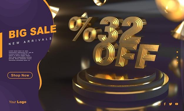 Percento 32 modello di banner di vendita dorato sopra il piedistallo d'oro con sfondo scuro