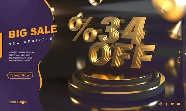 Percento 34 modello di banner di vendita dorato sopra il piedistallo d'oro con sfondo scuro