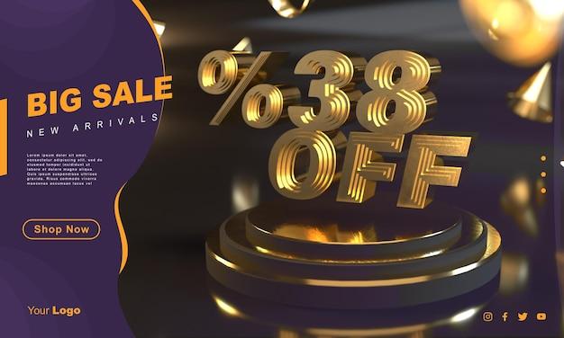 Modello di banner vendita d'oro 38 per cento sopra il piedistallo d'oro con sfondo scuro