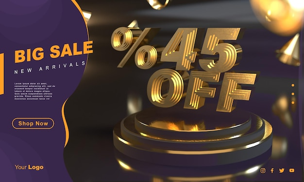 Percentuale 45 modello di banner di vendita dorato sopra il piedistallo d'oro con sfondo scuro
