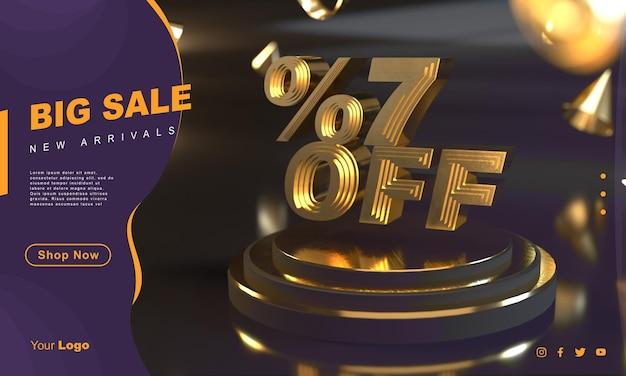 Percentuale 7 modello di banner di vendita dorato sopra il piedistallo d'oro con sfondo scuro