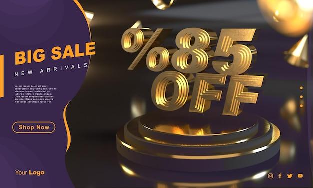 Percento 85 modello di banner di vendita dorato sopra il piedistallo d'oro con sfondo scuro