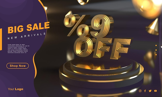 Percentuale 9 modello di banner di vendita dorato sopra il piedistallo d'oro con sfondo scuro