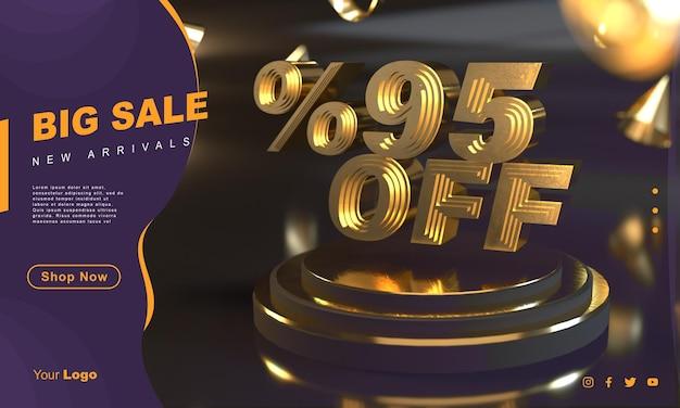 Percentuale 95 modello di banner di vendita dorato sopra il piedistallo d'oro con sfondo scuro