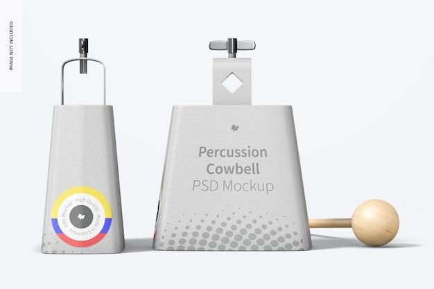 Mockup di campanacci a percussione, vista destra e frontale