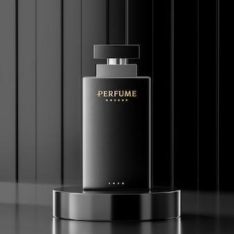 Modello di logo della bottiglia di profumo su fondo astratto nero per il rendering 3d di presentazione del marchio