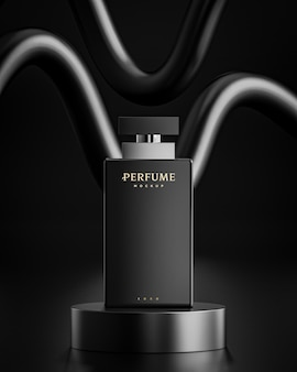 Modello di logo della bottiglia di profumo su fondo astratto nero per il branding 3d render