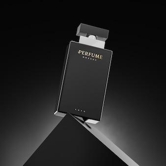 Mockup del logo della bottiglia di profumo per l'identità del marchio 3d rendering