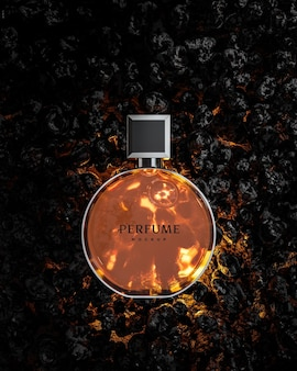 Modello di logo della bottiglia di profumo per il branding su sfondo di pietra nera 3d render