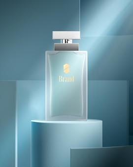 Mockup del logo della bottiglia di profumo per il rendering 3d di identità del marchio di lusso