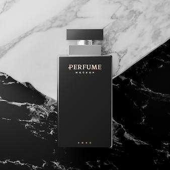 Il modello di logo della bottiglia di profumo sul fondo di lastra di marmo 3d rende