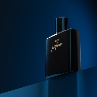 Mockup logo bottiglia di profumo blu navy sfondo astratto 3