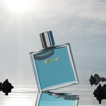 Mockup di logo della bottiglia di profumo sul fondo dell'oceano