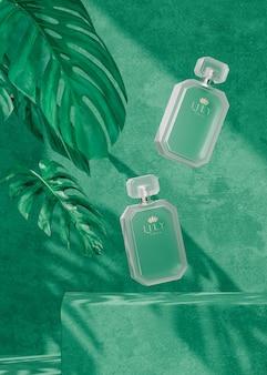 Modello di logo della bottiglia di profumo su sfondo verde tropicale per il rendering 3d di presentazione del marchio