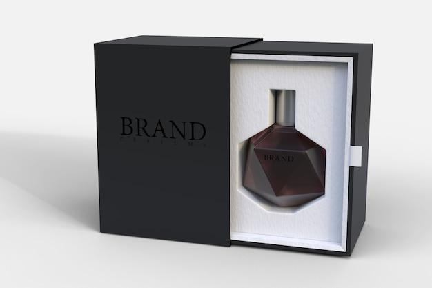 Rendering di mockup di imballaggi per profumi per la progettazione di prodotti