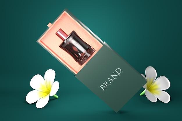 Mockup di pacchetto di profumo 3d rendering per la progettazione del prodotto