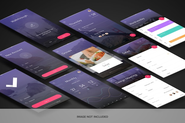 Mockup di schermate di app prospettiche