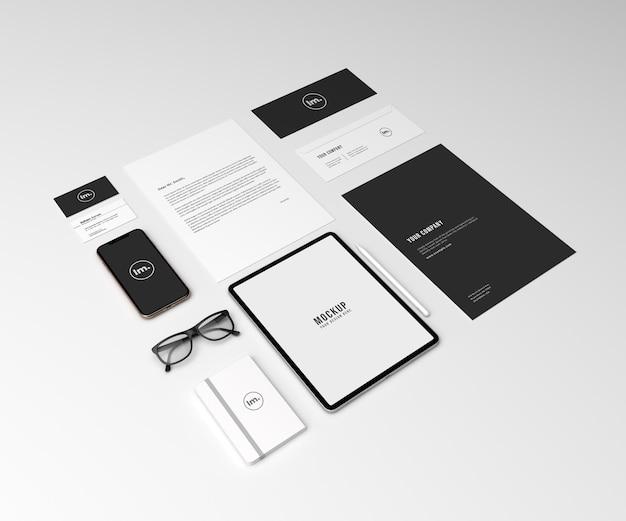 Prospettiva set di mockup di identità del marchio aziendale