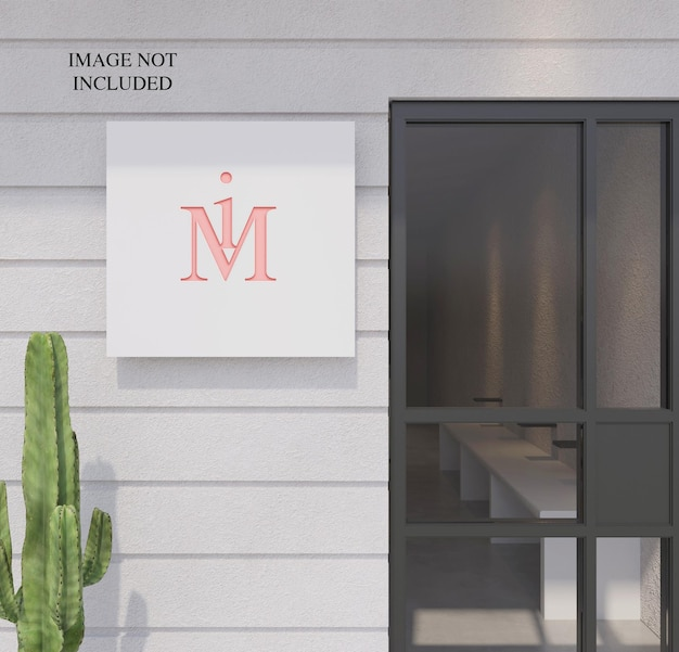 Placca con logo in prospettiva sulla parete frontale del negozio