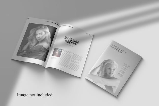 Prospettiva magazine mockup con sovrapposizione di ombre