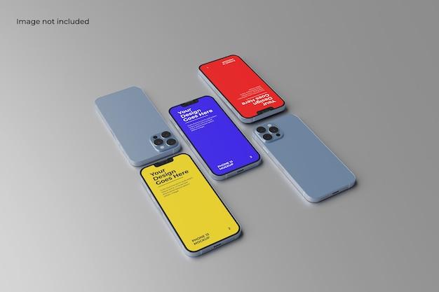 Prospettiva smartphone 13 mockup per mostrare il design dell'interfaccia utente