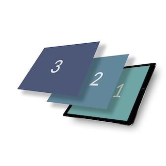 Mockup di tablet isometrico a triplo schermo prospettico