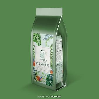 Vista prospettica del mockup del packaging del prodotto doypack