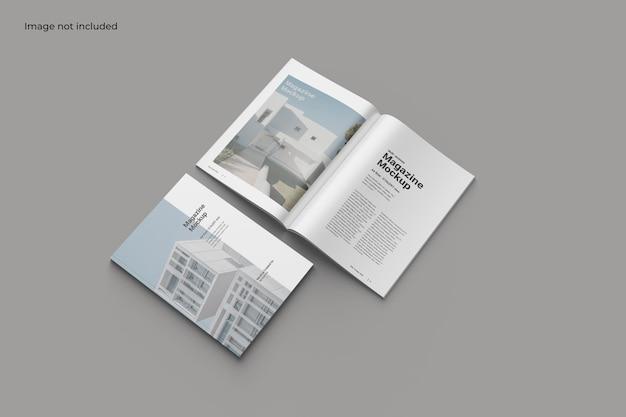 Mockup di rivista con vista prospettica