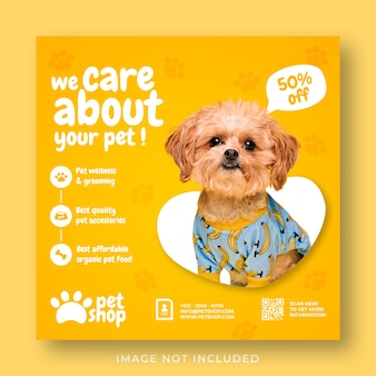Modello di banner post instagram di social media per la promozione del servizio di cura degli animali domestici