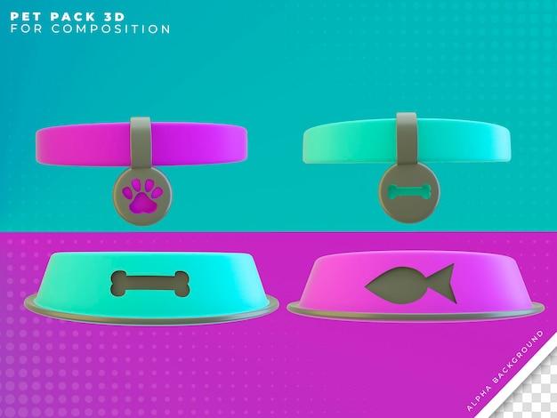 Rendering 3d di oggetti per animali per la composizione