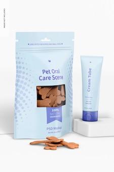 Mockup di scena per l'igiene orale dell'animale domestico