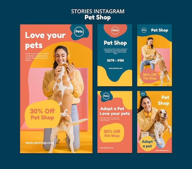 Storie di instagram del negozio di animali