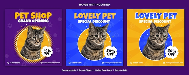 Negozio di animali social media template design banner instagram post