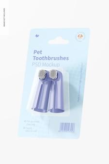 Mockup di spazzolini da denti per animali domestici, appoggiato