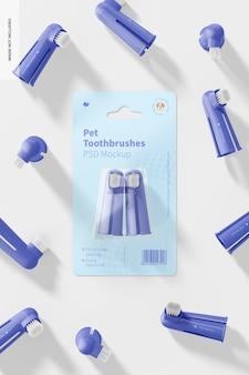 Mockup di spazzolini da denti per animali domestici, vista dall'alto